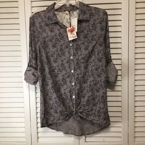 About a girl floral button down top size medium